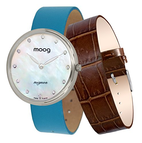 Moog Paris Mignon Women's Watch with White Mother of Pearl Dial, Blue Genuine Leather Strap & Swarovski Elements - M41682-A11