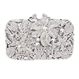 Bonjanvye Glitter Floral and Butterfly Purse Clutch Bags for Girls Silver