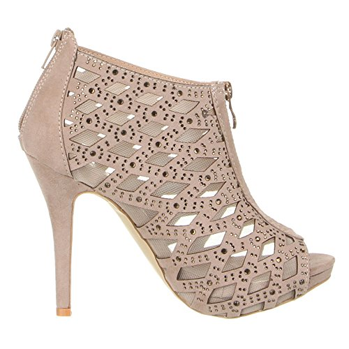 Damen Schuhe, LA88-26, ANKLE BOOTS Hellbraun
