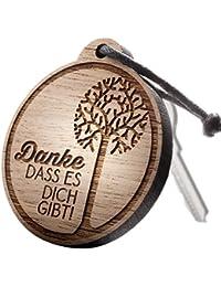 """Schlüsselanhänger aus Holz mit Gravur """"Danke, dass es dich gibt!"""""""