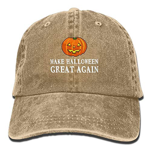 ZMYGH 2017 Funny Pumpkin Make Halloween Great Again Washed Retro Adjustable Jeans Cap Gym Caps for Adult