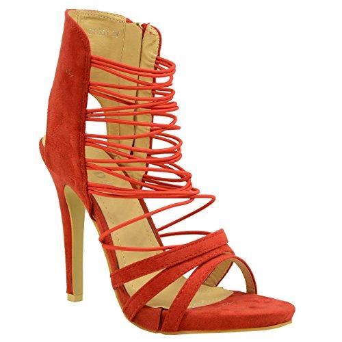 Cucu Fashion ,  Damen Knöchel-Riemchen Rot