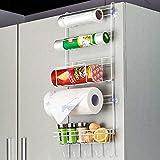 Home Essentials Multi-Layer Refrigerator Broadside Shelf Rack Sidewall Multipurpose Shelf Plastic Wrap Tissue Storage Rack Kitchen Organizer - White Color