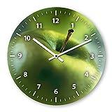 Wanduhr mit Motiv - Apfel - aus Echt-Glas | runde Küchen-Uhr | große Uhr modern