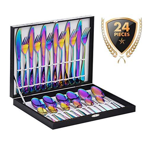 Velaze set di posate da tavola per 6 persone, set 24 pezzi in acciaio inox 18/10, posate servizio 6 cucchiai, 6 forchette, 6 coltelli, 6 cucchiaini tè - arcobaleno (b24)
