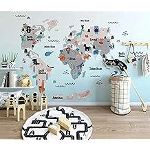 Duvarkapla Bebek ve Çocuk Odası 3 Boyutlu Duvar Kağıdı 260x160cm için Sevimli Hayvanlar ile Çocuk Dünya Haritaları Duvar