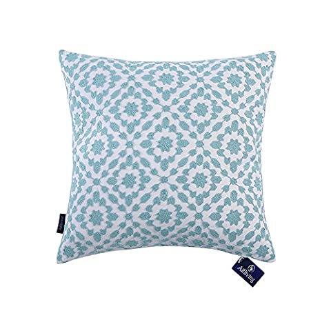 Aitliving Cushion Covers Embroidered Trellis Pattern Sky Blue and Cotton Canvas Base 1 pc Mina Light Blue Cushion Cover 20 x 20 inch