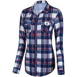 Urban GoCo Camisas Clásica de Mangas Largas y de Tartan con Botones Abajo para Mujeres (XL, 1)