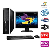 Lot PC HP Elite 6000 Pro SFF E5400 2.7 GHz 8gb Disk 2To WIFI W7 Pro + Screen 22