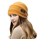 Lawliet Eleganter Vintage-Glockenhut aus Wolle für Damen. Warme Kopfbedeckung für den Winter. Gr. Einheitsgröße, gelb