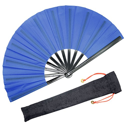 OMyTea - Abanico de mano plegable grande de tipo Kung Fu-Tai Chi,...