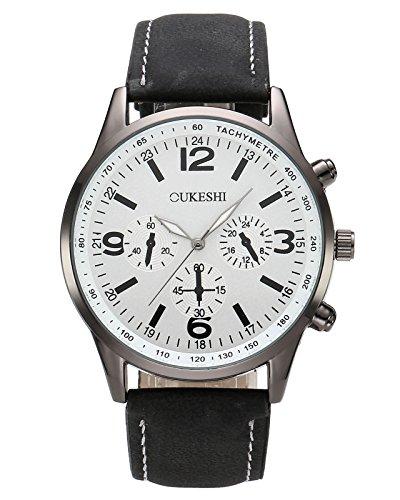 8' Das Weiße Band (JSDDE Uhren,Herren Armbanduhr Lässig Analog Quarzuhr unecht Chronograph Wasserdichte Luxus Geschäft Männer Kleid Uhr,Weiß+Schwarz)
