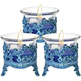 Cocodoes Tlight Candle With Blue Crown Candle Stand Holder Set Of 3 For Birthday Anniversary Hotel Spa Christmas Diwali