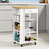 SoBuy® Carrito de servir, estantería de cocina, carrito de cocina móvil, FKW12-WN, ES