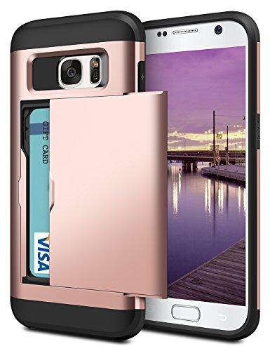 Samsung S7 Hülle, Coolden® Premium [Kartenfach] Handyhülle Silikon TPU + PC Cover Doppelschichter Schutz Slim Wallet Armor Case Ultra Dünn Brieftasche für Samsung Galaxy S7 (Rosegold)