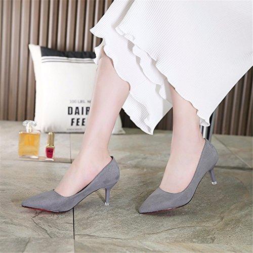hxvu56546au printemps et en automne saisons Talons hauts chaussures femme einzelne Chaussures Satin Chaussures de travail gris
