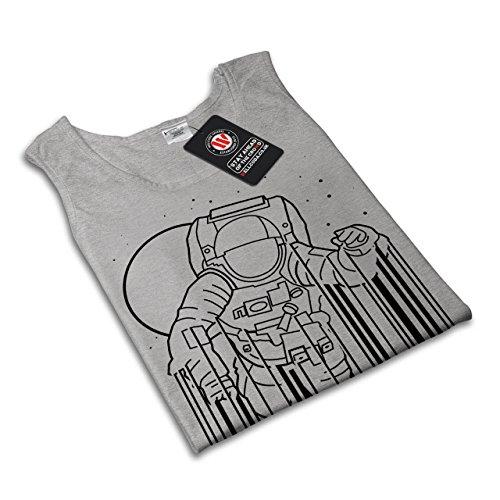 Platz Astronaut Mond Geek Damen S-2XL Muskelshirt   Wellcoda Grey