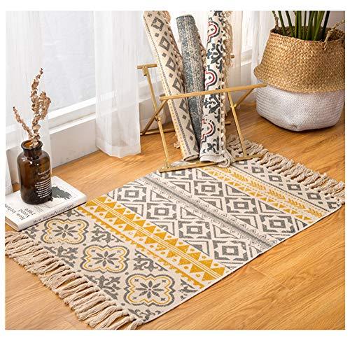 Sumshy Alfombra etnica Bohemia algodón y Ropa Alfombra Sala alfombras de habitacion de Estar Dormitorio...