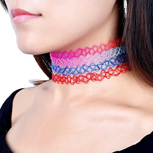 WINOMO 12pcs Tattoo Choker Halskette Stretch elastischen Choker Collier-Set
