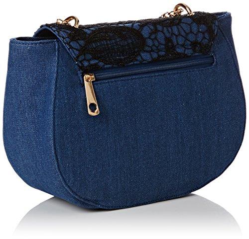 Sara Vintage Denim & Lace Damen Designer-Umhängetasche Day Bag–SwankySwans schwarz