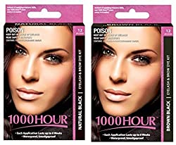 Combo Pack 1000 Hour Eyelash & Brow Dye / Tint Kit Permanent Mascara (Black & Brown Black)