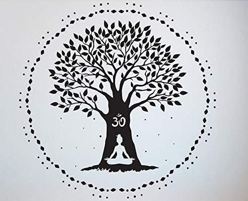 WWYJN Yoga Wall Decal Quotes Namaste Decals Lotus Flower Wall Decal Yoga Decals Logo Hindu Art Vinyl Sticker57X57CM