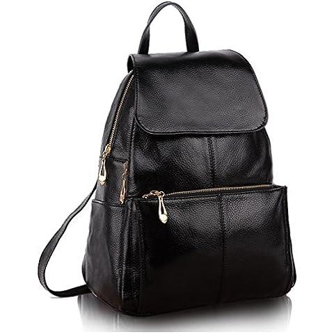 Greeniris Lady Vera Pelle Casual Borsa Top Handle Bag Borsa scuola zaino cerniera di chiusura borsa per le donne