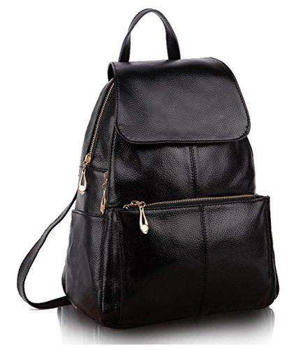 Greeniris Lady Vera Pelle Casual Borsa Top Handle Bag Borsa scuola zaino cerniera di chiusura borsa per le donne nero