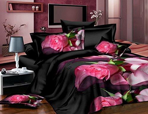 4Schwarz Farbe Bettbezug Tröster Shell Betten-Set Double Größe 3D -