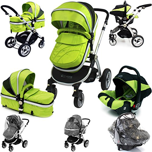 i-Safe System – Lime Trio Travel System Pram & Luxury Stroller 3 in 1 Complete With Car Seat + Rain Covers 51ipbt4EegL