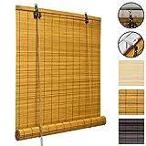 Sol Royal Bambusrollo SolDecor B86 - Bambus-Raffrollo Klemmfix Ohne Bohren 60x160cm - Fenster Rollo Bambus - Holzrollo in Bambus