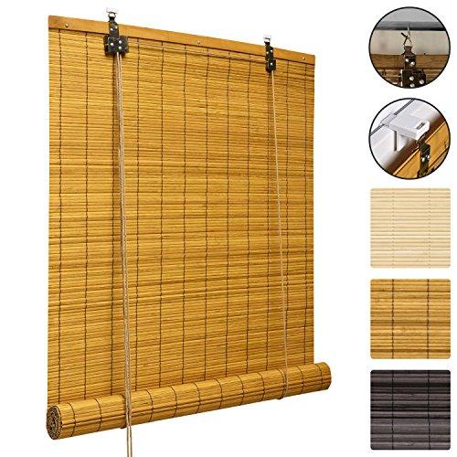 Sol Royal Bambusrollo SolDecor B86 - Bambus-Raffrollo Klemmfix Ohne Bohren 90x160cm - Fenster Rollo Bambus - Holzrollo in Bambus