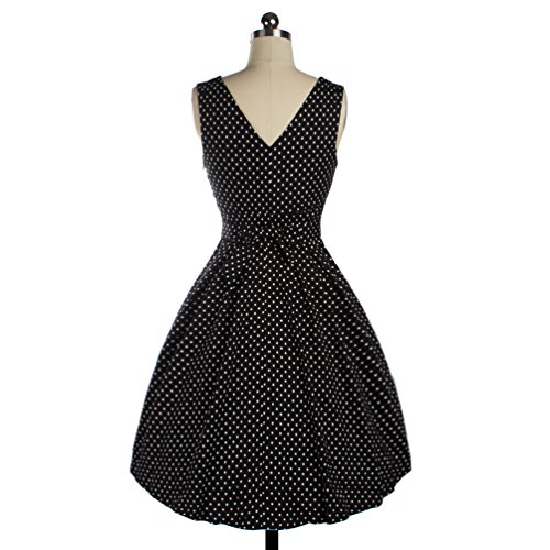 Wenseny Damen Kleid Vintage Retro Ärmellos V-Ausschnitt Tupfen Schwingen Party Kleid Schwarz