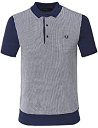 7f5b81612 Fred Perry Men s Two Colour Knitted Shirt K5512 E97 S Navy
