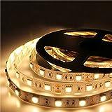 JOYLIT 5m 300 LEDs 5050 SMD DC 24V Warmes Weiß LED Strip Leiste Streifen Licht IP20 Nicht wasserdicht Lichterkett