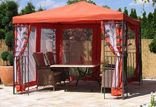QUICK STAR Garten Blätter Pavillon 3x3m Terra Partyzelt Metall Carport mit 4 Seitenteilen mit Moskitonetz -