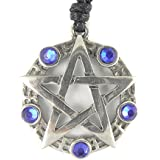 Mystical & Magical Pewter / Blue Pentagram Pentacle Pagan Wiccan Gothic Pendant