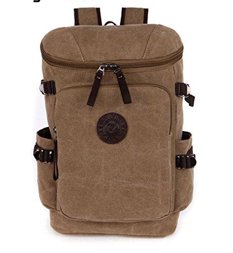&ZHOU Segeltuchtasche, Canvas Rucksack Rucksack Pure Farbe große Kapazität Mehrzweck Tasche Freizeit Schultaschen Khaki