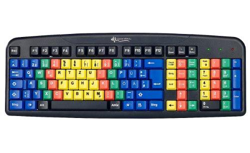 GeneralKeys Lerntastatur: USB-Übungs-Tastatur mit Farbkodierung für 10-Fingersystem (Farbige Tastatur)