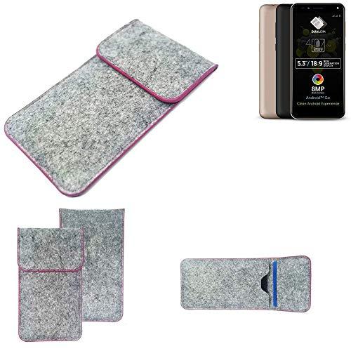 K-S-Trade® Filz Schutz Hülle Für -Allview A9 Plus- Schutzhülle Filztasche Pouch Tasche Case Sleeve Handyhülle Filzhülle Hellgrau Pinker Rand