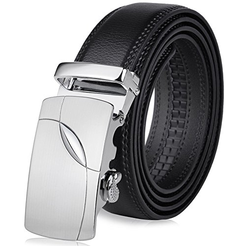 Vbiger Herren Gürtel Schwarz Gürtel für Anzug und Jeans mit Automatik Schnalle (Herren Schwarze Anzüge)