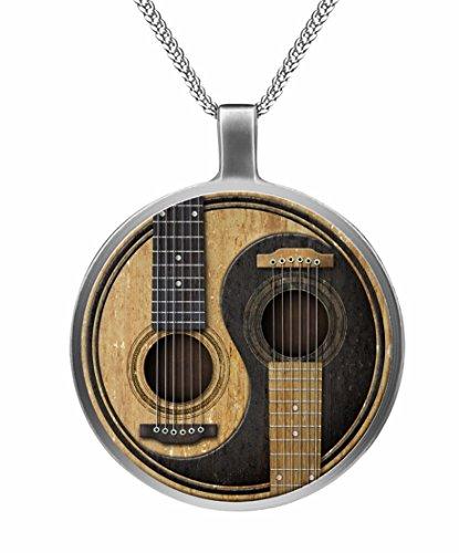 Musikinstrument Schmuck. Zwillings-Gitarren-Anhänger Halskette.