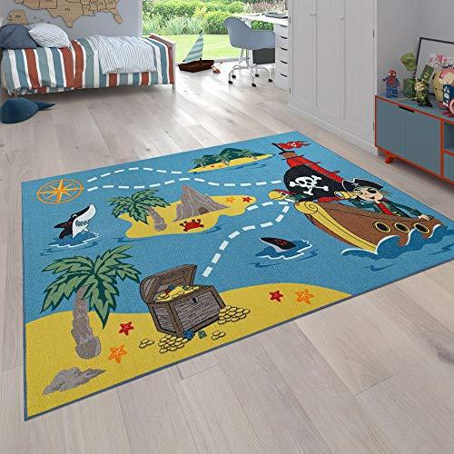 Paco Home Kinderteppich Bunt Piraten Design Schiff Schatzsuche Hai Meer Weich Robust, Grösse:80x150 cm