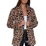 TWBB Mäntel Damen Elegant Leopard Wintercoat Kapuzenpullover Wintermantel Frauen Trenchcoat Drucken Slim-Fit Hülse Jacken Windbreaker Herbst Winter Bequem Outwear