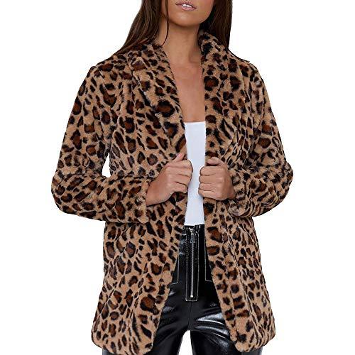TianWlio Mäntel Frauen Damen Winter Leopard Printed Faux Pelz Langarm Strickjacke Jacke Outwear...