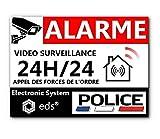 **Lot de 8 Autocollants Dissuasifs « Alarme Vidéo Surveillance » Anti cambriolage pour Maison Immeuble Commerce Garage. Stickers Vidéo Surveillance de Qualité Professionnelle **(Police)