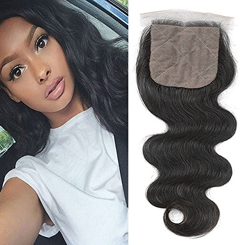 Ugeat 100% Bresilien Vierge Cheveux Humain Ondule/Body Wave Lace Closure de Silk Base 4 * 4\