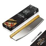 Dolce Mare Cortador de Pizza - Cuchillo cortador versátil con mango de roble fino - Cuchillo para pizza con hoja de acero inoxidable extra afilada - Incluye protección de la hoja e instrucciones