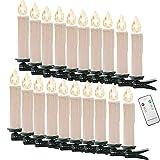 ADEMAY 20 Stück LED-Kerzenlampe Warmweiß Kabellos Kerzenlichter Weihnachtskerzenlicht