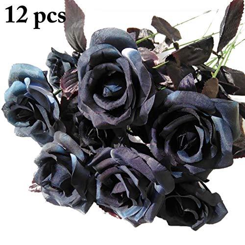 Justdolife 12pcs rose artificiali rose finte eleganti fiori di simulazione per la decorazione domestica